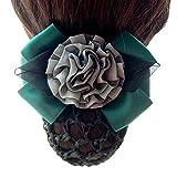 ShungFun Women Bowknot Snood Net Barrette Hair Clip Bun Cover for Bank Office Lady Nurse Air Hostess (Green)