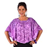 1 World Sarongs Womens Purple Butterfly Cover-Up Square Neck Top