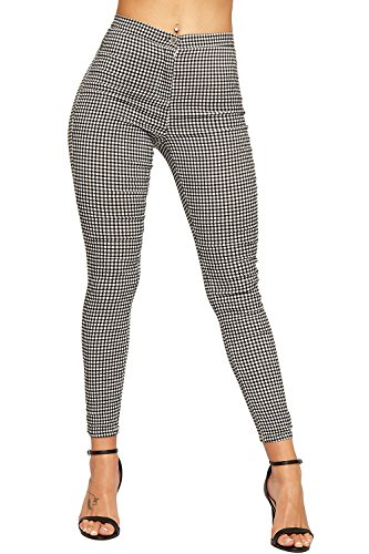 Gingham Pants (WEARALL Womens Gingham Check Stretch Leggings - Black White - US 8 (UK 12))