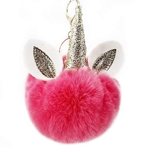 Goodscene Gift Keyring for Couple PU Leather Horn Ear Plush Ball Key Chain Pendant Plush Doll Key Ring Keychain(Watermelon Red)