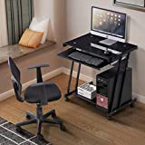 Mecor Tempered Glass Black Computer Desk w/4 Wheels, Keyboard Tray, CPU Power Stand, Metal Frame Laptop PC Table Workstation Home Office For Sale