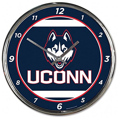 (UCONN Huskies 12 inch Round Wall Clock Chrome)