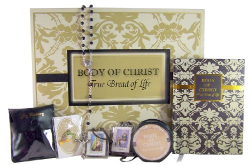 My First Holy Communion Deluxe Box Set with Mass Book, Rosary and Case, Scapular, and Lapel Pin
