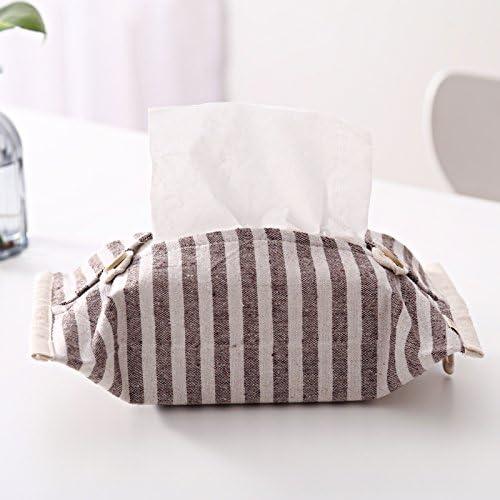 TISZJHU Bolsa de tejido de algodón simple se puede colgar Home Car Bombeo de papel Caja de papel toalla de papel Cubierta de tela, rayas blancas marrones: Amazon.es: Hogar