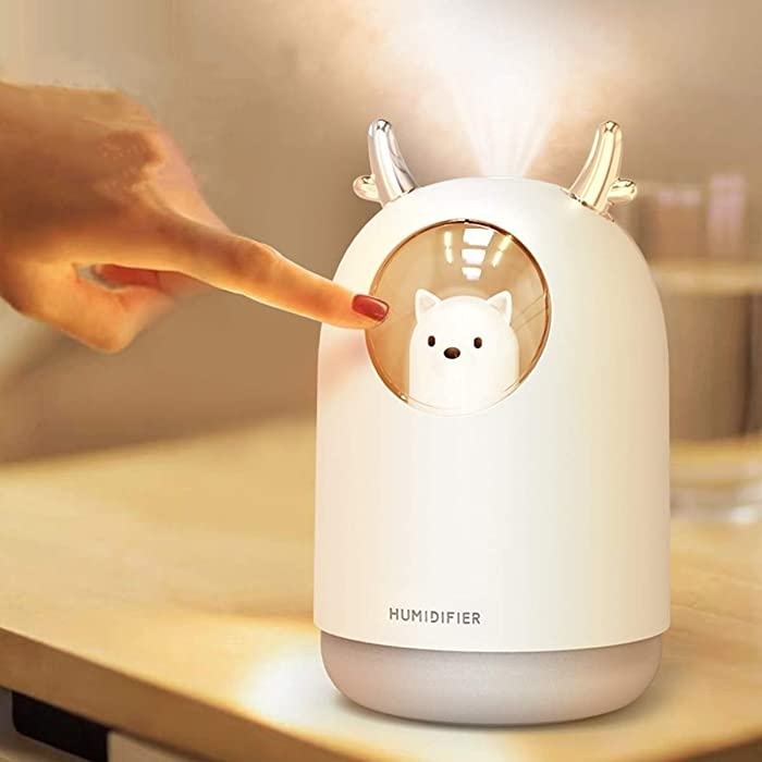AmuseNd Portable USB Cool Mist Humidifier, 300ML Mini Atomization Humidifier with 7 Kinds of LED Light Conversion, Desktop Ultrasonic Air Humidifier Suitable for Kids, Baby, Offices, Bedrooms,Dorm