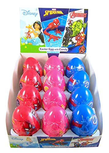 Assorted Disney Princess and Marvel Avengers Eggs with Candy, Pack of 12 -