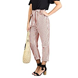 Women's High Waisted Pants Casual  Cropped Trouser with Pockets