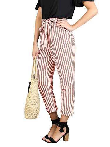 Lynwitkui Womens Striped High Waisted Palazzo Pants Casual Tie Waist Cropped Trouser with Pockets