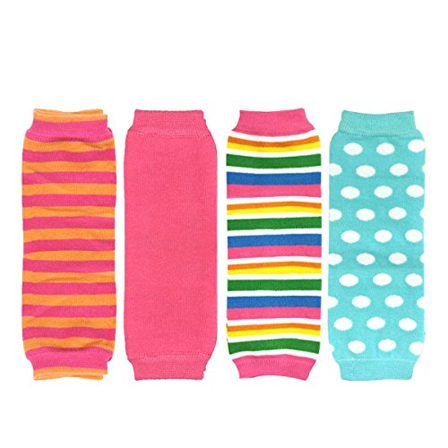 Wrapables Colorful Baby Leg Warmers Set of 4, Stripes, Solid Pink, Rainbow, Aqua Dots