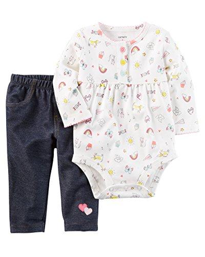 Carters Super Comfy 3 Piece (Carter's Baby Girls' 2-Piece Bodysuit Pant Set (3 Months, Gray))
