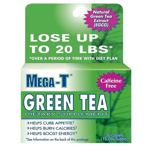 Mega-T Dietary Supplement Green Tea Extract Caplets, Caffeine Free, 30-Count Boxes (Pack of 4)