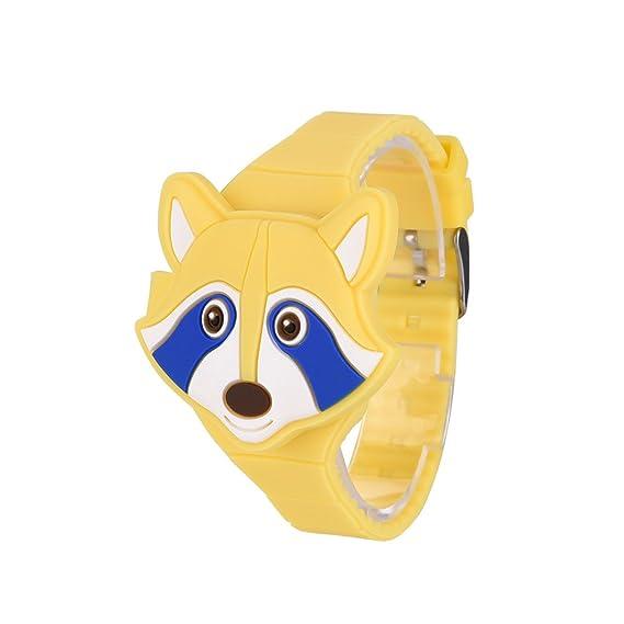 Relojes digitales para niña, moda de silicona para niños, reloj de dibujos animados LED digital con tapa: Amazon.es: Relojes