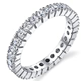 3MM Sterling Silver 925 Eternity Ring Engagement Wedding Band Ring With Cubic Zirconia CZ Size 6