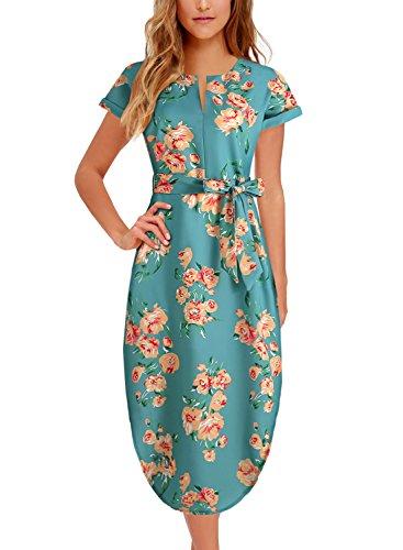 - BOKALY Women's Midi Dresses Side Slit Floral Print Loose Casual Long Dress with Belt BK318 (XL, Green Floral)