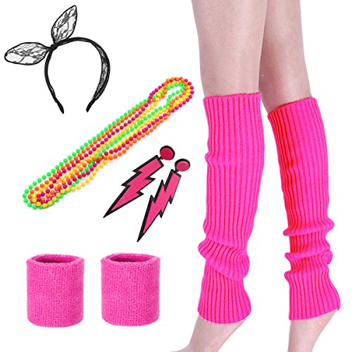 Costume 80s Fancy Outfit Accessories Set-Neon Headband ,Leg Warmers,Gloves, Color2 (Pink), One Size