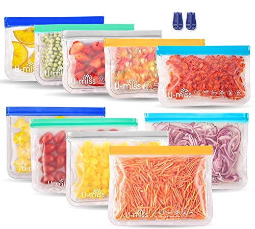 Reusable Storage Bags, BPA -Free & Freezer Bags, Leakproof Storage Bag for Food, Travel, Home Organization