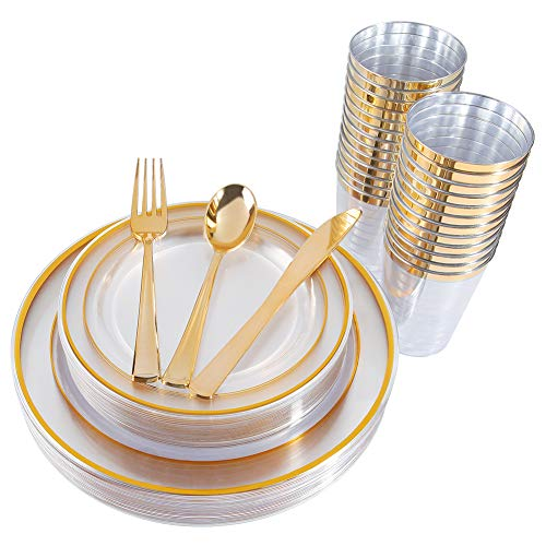 - 150 Pieces Gold Plastic Plates & Silverware & Cups, Clear Disposable Plastic Dinnerware Set Includes: 25 Dinner Plates 10.25