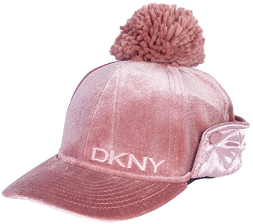 DKNY Girl\'s Velvet Cap With Satin Ear Flap and Pom Pom, Blush, Size 7-16'