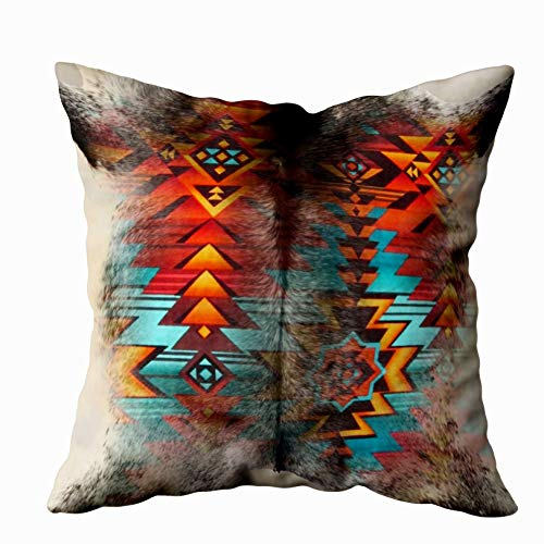 Musesh distressed cowhide and western print design Cushions Case Throw Pillow Cover For Sofa Home Decorative Pillowslip Gift Ideas Household Pillowcase Zippered Pillow Covers ()