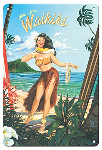 Pacifica Island Art 8in x 12in Vintage Tin Sign - Aloha from Waikiki - Hula Girl Dancer by Scott Westmoreland - Hula Dancer Pictures