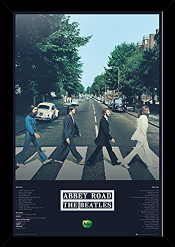 The Beatles - Abbey Road Tracks Poster in a Black Wood Frame