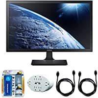 Samsung SE310 Series 27 Screen LED-Lit Monitor (S27E310H) with 2x General Brand HDMI to HDMI Cable 6, Xtreme 6 Outlet Wall Tap w/ 2 USB Ports White & Xtreme Performance TV/LCD Screen Cleaning Kit
