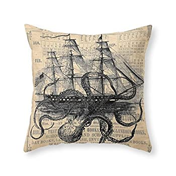 "Society6 Octopus Kraken Attacking Ship Antique Almanac Paper Throw Pillow Indoor Cover (18"" x 18"") with pillow insert"