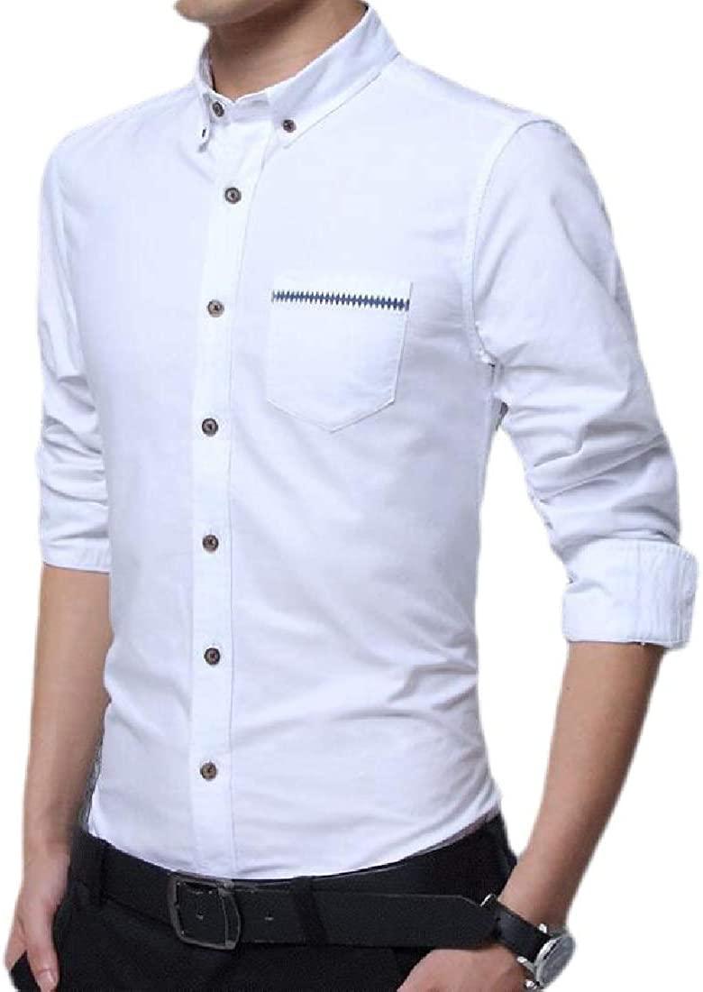 desolateness Mens Fashion Button Down Collar Slim Fit Shirt Long Sleeve Business Dress Shirt
