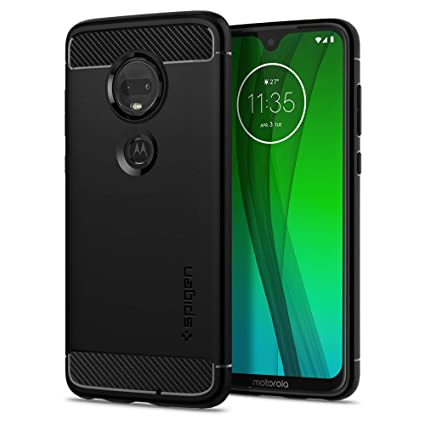 Spigen Rugged Armor Designed for Moto G7 Case/Designed for Moto G7 Plus Case (2019) - Matte Black
