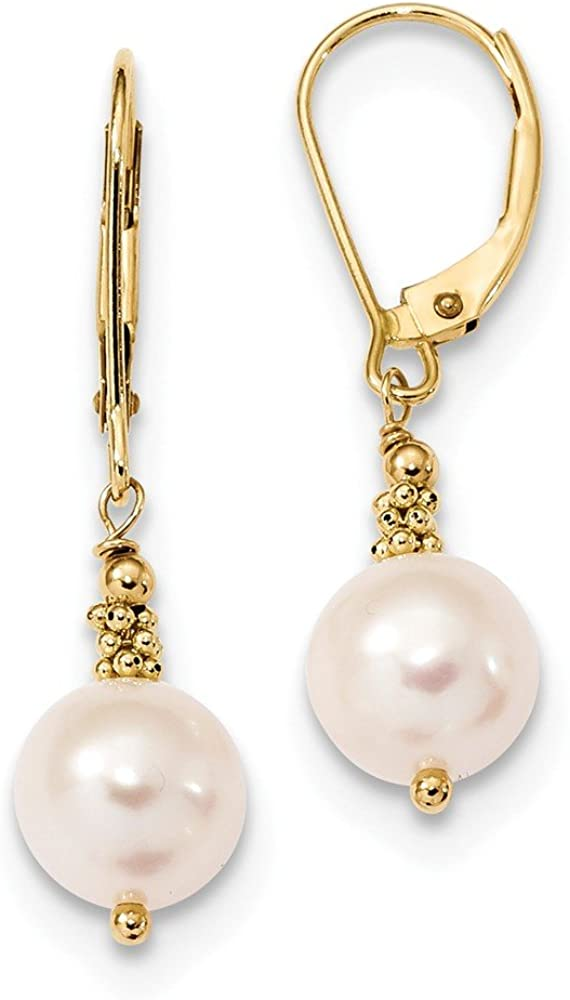 Boucles doreilles dormeuses en or jaune 14 carats avec perle blanche de 8 /à 9 mm