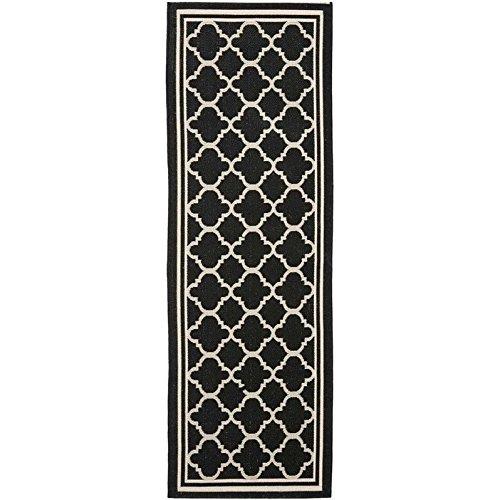 Safavieh Courtyard Collection CY6918-226 Black and Beige Indoor/Outdoor Runner (2'3