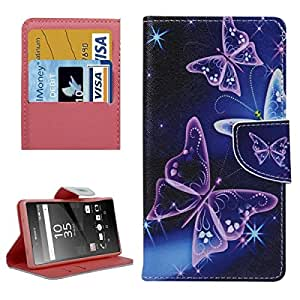 Purple Crystal Butterflies Pattern Horizontal Flip Leather Case with Holder & Card Slots & Wallet for Sony Xperia Z5 Compact