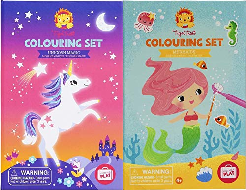 Schylling Tiger Tribe Deluxe Portable Play Colouring & Sticker Activity Sets Featuring Unicorn Magic & Mermaids Gift Set Bundle - 2 Pack