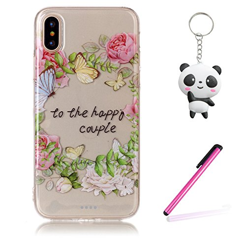 iPhone X Hülle Blumen und Schmetterlinge Premium Handy Tasche Schutz Transparent Schale Für Apple iPhone X / iPhone 10 (2017) 5.8 Zoll + Zwei Geschenk