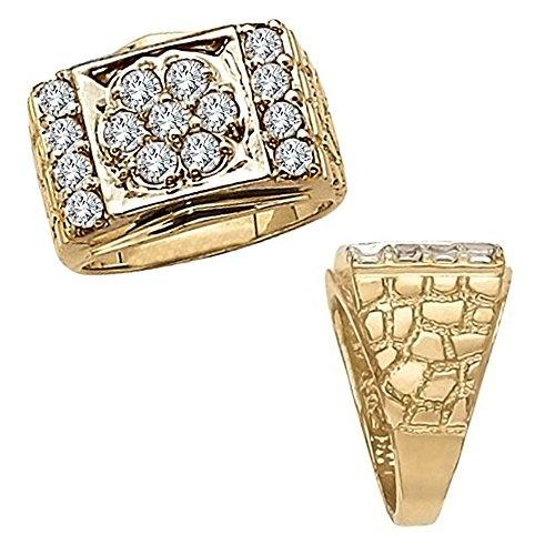 Fancy Yellow Round Diamond - 2.00 Carat G-H Round Diamond Fancy Design Cluster Men's Engagement Anniversary Ring 14K Yellow Gold