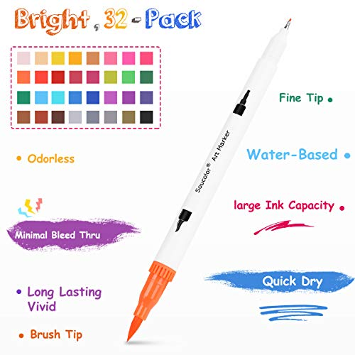Soucolor Dual Tip Brush Markers Pens, 32 Fineliner Point and Brush Marker for Journaling Hand Lettering Adult Coloring Book Note Taking Writing Drawing Sketching Planner Mothers Day Gifts