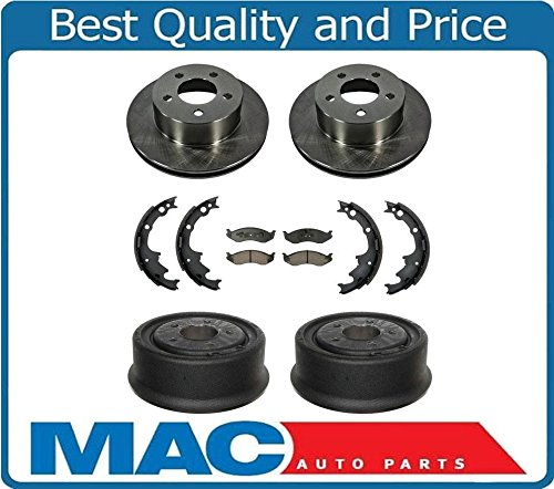 (100% New Front Rotors Rear Drums Brake Pads Brake Shoes for Jeep Wrangler 90-98)