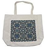 Lunarable Arabian Shopping Bag, Floral Antique Tile Pattern in Delicate Old Fashioned Ornamental Artistic Print, Eco-Friendly Reusable Bag for Groceries Beach Travel School & More, Cream