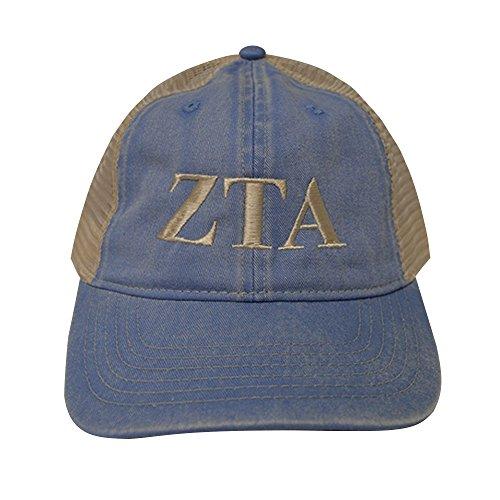 Zeta Tau Alpha Sorority (L) Comfort Colors Washed Denim Trucker Baseball Hat Cap Ivory - Tau Colours