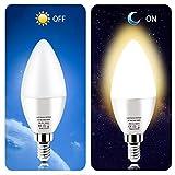 Dusk to Dawn Night Light Bulbs 6W E12 Light Sensor Bulb 3000K 60w Equivalent LED Bulb E12 LED Candelabra Bulb Base,Auto On and Off for Home,Outdoor,Yard Light,Warm White (2 Pack)