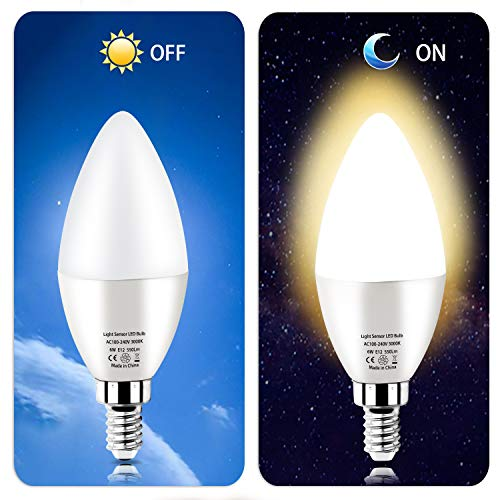 Dusk to Dawn Night Light Bulbs 6W E12 Light Sensor Bulb 3000K 60w Equivalent LED Bulb E12 LED Candelabra Bulb Base,Auto On and Off for Home,Outdoor,Yard Light,Warm White (2 Pack) (To Post Dusk Lamp Dawn)
