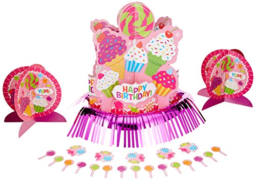 Sweet Candy Shop Birthday Party Assorted Table Decorating Kit, Pink/Purple, Paper, 23-Piece - Birthday Party Decorating Kit