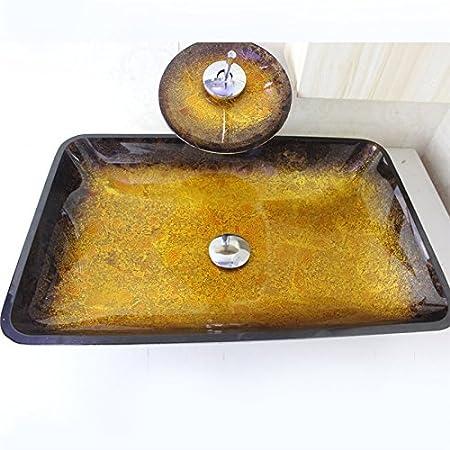 HomeLava Lavabo Vasque en Verre Tremp/é Marron avec Robinet Cascade /à poser la salle de bain