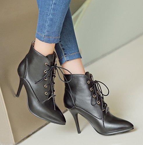 Aisun Womens Élégante Bout Pointu Robe Stiletto Talons Hauts Lacets Bottillons Chaussures Noir