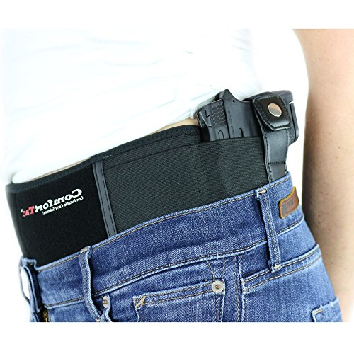 ComfortTac Ultimate Belly Band Holster 2.0 | NEW 2017 | Fits Glock 19 43 26 Smith and Wesson MP Shield Bodyguard Ruger LC9 Sig Sauer More | Carry IWB OWB - 23 Bullets Glock