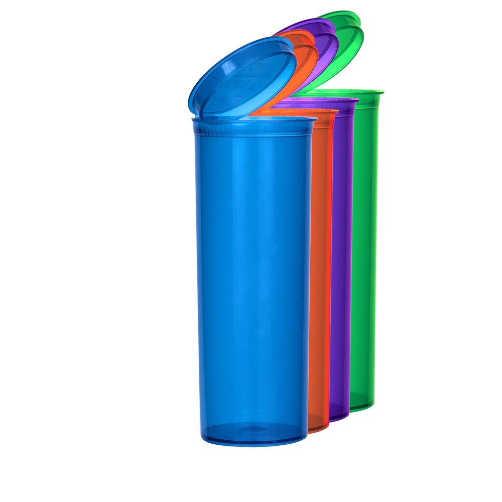 Assorted Colors Pop Top Bottle 60 Dram (2 Boxes - 75 Containers per Box) - MJ-PVM60