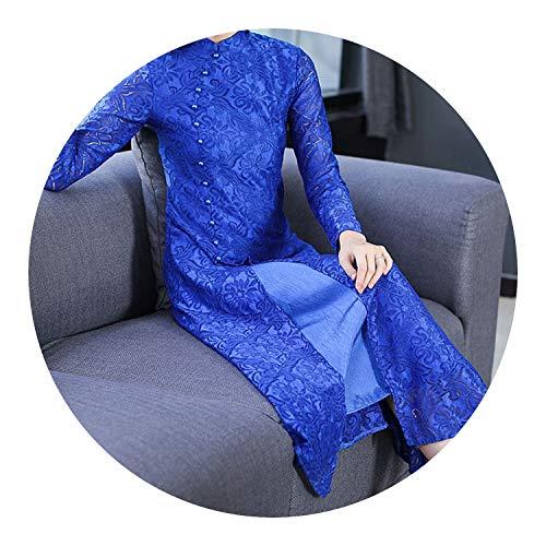 アカデミー休暇現像チャイナドレスドレス女性のレトロドレス,青,2XL