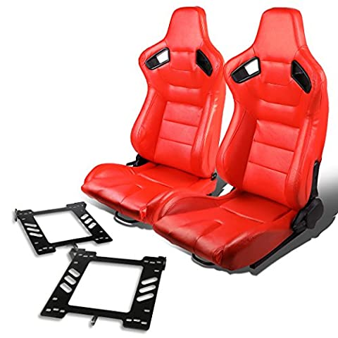 Pair of RS-028-RD PVC Leather Reclinable Racing Seat+Bracket for Vw Golf/Jetta/Beatle (Backwards Beatles)