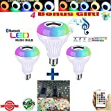 LED Light Bulb with UPGRADED Bluetooth Speaker, UPGRADED 7W E27 RGB Changing LED