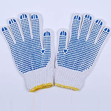 ZfgG 12 Pair Safety Gripper Work Gloves | Blue PVC Polka Dots Cut Protection Gloves (Color : Blue)